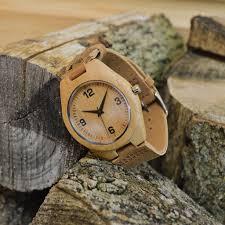 engraved wooden wrist watch