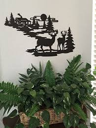 home shop home decor  on pine tree forest metal wall art with cabin ironworks deer and lodge in woodlands metal wall art rustic