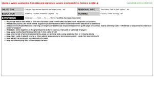 wire harness assembler job resume sample wire harness assembler job resume
