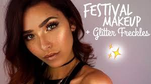 festival look glitter freckles tutorial