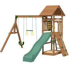 riviera tower with slide rockwall access ladder built in sandbox 3 swings