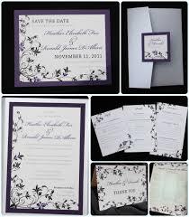 Black And Purple Invitations Dark Purple Black Silver Floral Pocketfold Wedding