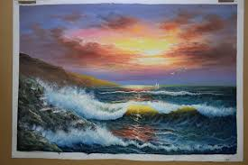 handpainted modern beach seascape oil painting on canvas sea wave sunshine canvas painting wall painting picture