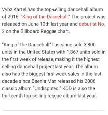 Billboard Charts 2006 Vybz Kartel Has The Top Selling Dancehall Album Of 2016 King