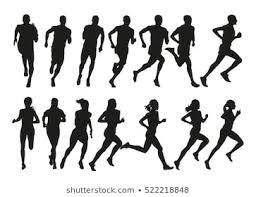 マラソン 女性 シルエット イラストの画像写真素材ベクター画像