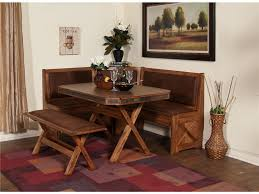 small rustic breakfast nook table with cross x legs bench seat and banquette ideas