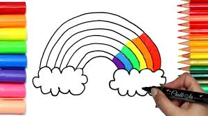 coloring with markers. Simple Coloring How To Draw A Rainbow  Coloring With Chalkola Chalk Markers  Drawing And  Pages For Kids Throughout With