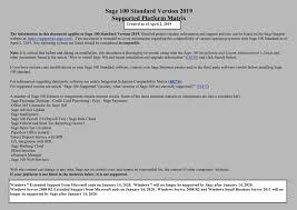 Sage Updates Sage 100 Supported Platforms Matrix For 2019