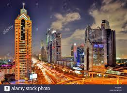 Dubai Night Scene With City Lights Stock Photo 207192095