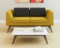 alvier wooden leg reception sofa yellow and grey