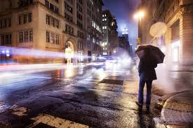 city night cloudy lonely man umbrella