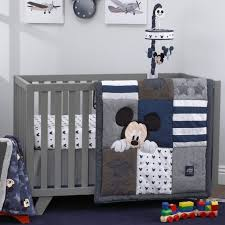 disney mickey mouse 4 piece hello world denim star icon nursery crib bedding