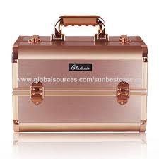china unique design rose gold color professional aluminum makeup case beauty vanity box with trays