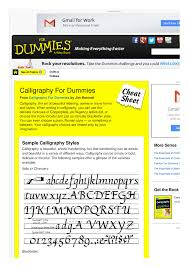 calligraphy for dummies cheat sheet by spaceduck 1 pages