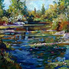 a romantic impressionistic painting of a water lily pond by david lloyd glover