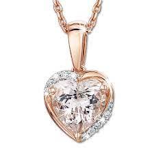 morganite and diamond heart pendant