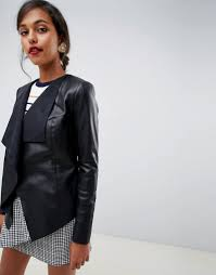 oasis waterfall front faux leather jacket in black black