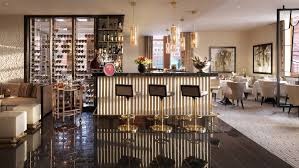 restaurant dining room design. Quadrum Restaurant Dining Room With Small Gold-and-marble Bar Three Stools, Design L