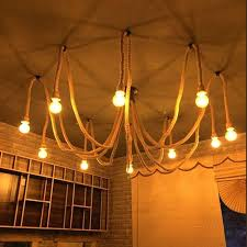 vintage hemp rope electric cord wire for bulb pendant light decor lamp single with head double single light bulb