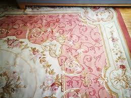 old hand made french design wool pink gold large original aubusson rug carpet