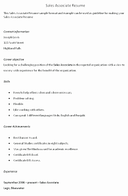 Objective For Sales Associate Resume New 39 Design Sales Associate Resume Objective
