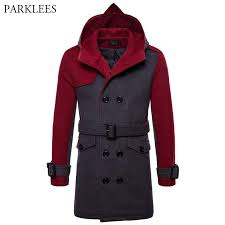 british style hooded wool pea coat men 2018 brand new men s double ted long trench coats winter fashion overcoat with belt