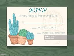 rsvp card template wedding rsvp card template with cactus on wood background vector