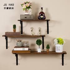 ju ho american casual creative wood wall shelf wrought iron wall shelves multilayer separator s