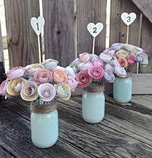 Wedding Decor With Mason Jars Paper Flowers Paper Flower Centerpiece Rustic Wedding 79