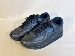 nike air max 90 gs youth boys black leather sneakers athletic shoes size 5y for