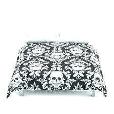 black and white damask comforter skull comforters modern bedding set queen king whit stripe