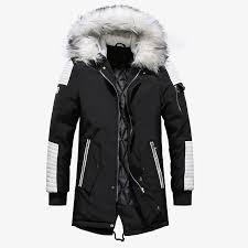 2019 aowofs winter jackets men parka coat with faux fur hood long padded mens parka jacket casual warm puffer jacket windbreaker xl from edward03