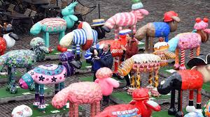 shaun the sheep statues exhibited at