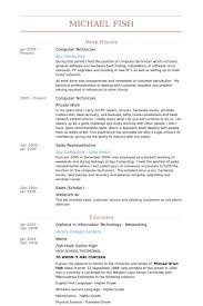 Computer Tech Resume Templates Sample Resume Computer Technician