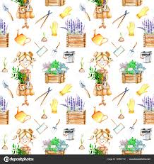 seamless pattern with cute gardener girl and garden tools ilrations stock photo