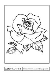 バラ4主線黒花の塗り絵無料イラストぬりえプリント