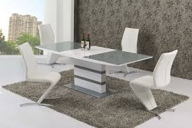 Small Extending 4 Seater Gloss Grey Glass Dining Table U0026 Chairs Set