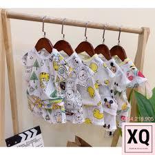 Set 5 Bộ cotton giấy cộc tay in hình ngộ ngĩnh cho trẻ sơ sinh, quần áo  thun ngắn tay bé trai bé gái - XQ Baby Kid tại Hà Nội