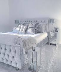 Image great mirrored bedroom Bedroom Sets Grey Sleigh Bed In Velvet With Silver Satin Sheets Pillows Wmirrored Furniture Pinterest 12 Best Mirror Bed Images Bed Company Mirror Bed Bedroom Decor
