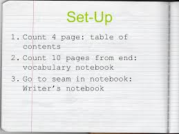 3 set up 1 count 4 page table of contents 2 count 10 pages from end voary notebook 3 go to seam in notebook writer s notebook