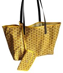 French Designer Tote Bags Goyard Mm St Louis Pm Tote Shopper Yellow Coated Canvas Pvc Trim Leather Handles Tote 62 Off Retail