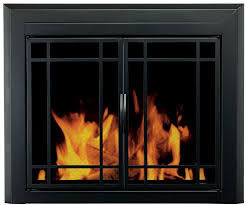 fireplace glass doors mesh screens large black finish pleasant hearth easton