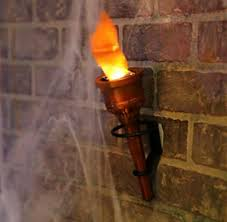 Fire Lighting Torch Pair 2 Torch Fake Flame Light Halloween Decor Prop Hand Held Or Wall Mounted Set