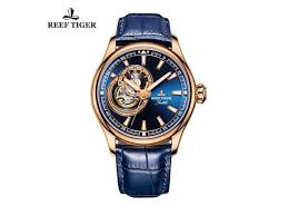 reef tiger dress men s watches rose gold all blue watch leather band rga1639