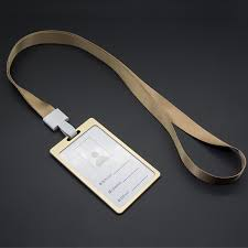 Gold Card Office Us 3 96 12 Off 1pcs Gold Color Id Name Card Case Aluminum Alloy Business Card Badge Holder With Neck Lanyard Strap Company Office Supplies In Badge