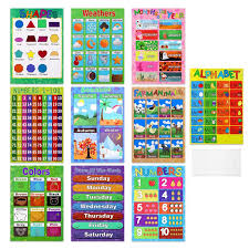 Us 8 28 42 Off 10pcs Educational Preschool Posters Charts For Preschoolers Toddlers Kids Kindergarten Classrooms Home Decoration On Aliexpress