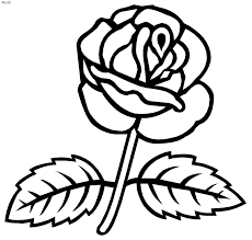 rose outline clip art flowers and roses coloring pages