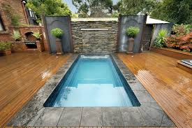 Very Small Swimming Pool In Garden With Water Fountain