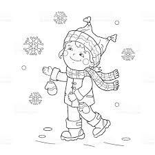 Small Picture Coloring Page Outline Of Girl Rejoicing In Thirst Snow stock