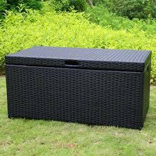 jeco black wicker patio storage deck box